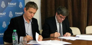 El director de Y-TEC, Santiago Sacerdote, y el rector de la UNC y miembro del Directorio de CONICET, Francisco Tamarit