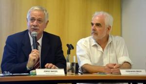 El ministro de Salud, Jorge Basso, y el presidente de ANII, Fernando Brum