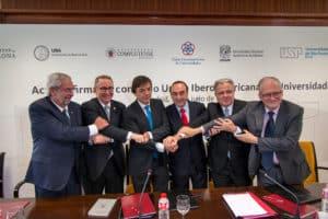 Acto de la firma de la adenda a convenio, en la Universidad Complutense de Madrid