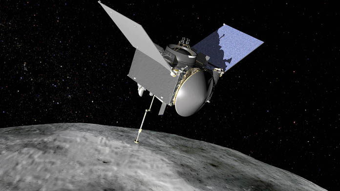 Diseño 3D de la sonda OSIRIS-REx en el asteroide Bennu. Crédito: NASA/Goddard Space Flight Center.