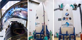 El Perú SAT – 1 encapsulado para su lanzamiento (Foto: Arianespace).
