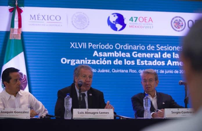 Luis Almagro en la primera jornada de la Asamblea de la OEA