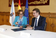 La secretaria general Iberoamericana, Rebeca Grynspan, y el presidente de la Xunta, Alberto Nuñez Feijoo