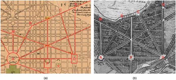 Similitudes de las doce avenidas: (a) Plano de L'Enfant para Washington, DC (1791); y (b) Plano del Real Sitio de Aranjuez de Domingo de Aguirre del Centro Geográfico del Ejército (1775).