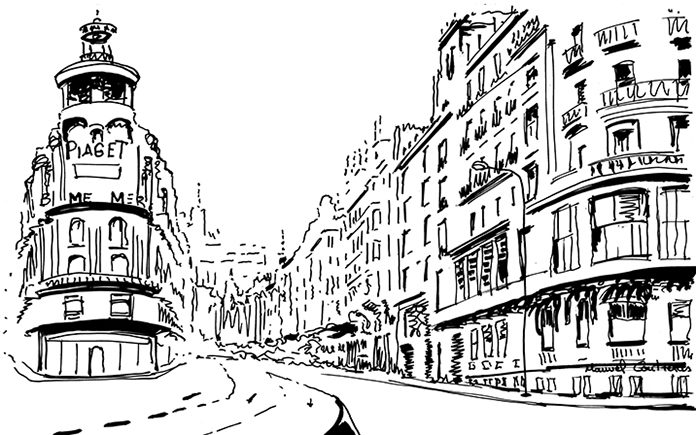gran via madrid dibujo