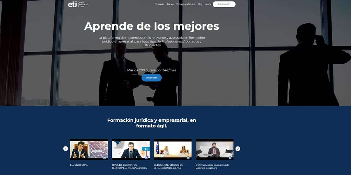 Web de ETJ Law & Business School.